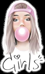 Girls Slogan With Bubble Gum Sticker