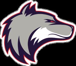 Glaring Wolf Head Mascot Sticker