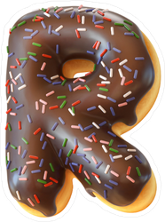 Glazed Donut Font Letter R Sticker