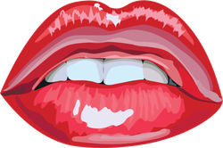 Glossy Abstract Red Lips Sticker