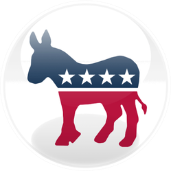 Glossy Democratic Party Logo Sticker