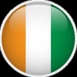 Glossy Ireland Flag Button Sticker
