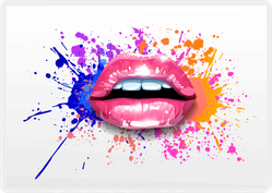 Glossy Lips With A Splash Of Colored Paint Sticker