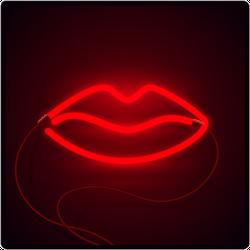 Glowing Neon Lips Sign Sticker