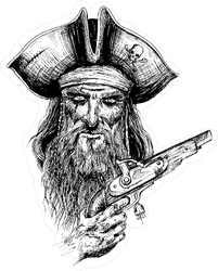 Gnarly Pirate Illustration Sticker