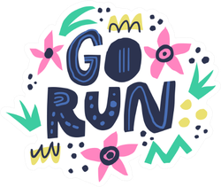 Go Run Hand Drawn Lettering In Floral Circle Frame Sticker