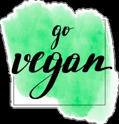 Go Vegan Green Watercolor Sticker
