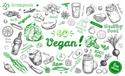 Go Vegan With Healthy Food Doodles
