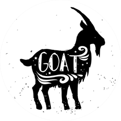 Goat. Hand Drawn Typography Silhouette And Lettering Sticker