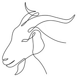Goat Head In Continuous Line Art Drawing Style Sticker
