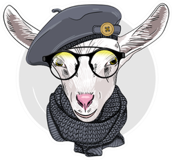 Goat With Glasses, Grey Beret And Knitted Scarf Sticker