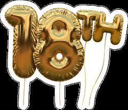 Gold 18 Birthday Balloon Sticker