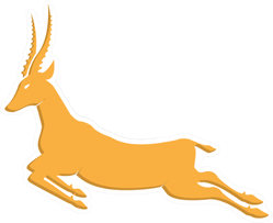 Gold Antelope Jumping Sticker