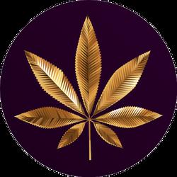 Gold Cannabis Leaf On Purple Background Sticker