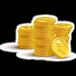 Gold Rupee Coins Sticker