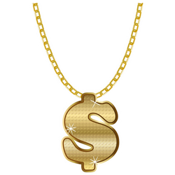 Gold Dollar Sign Necklace Sticker
