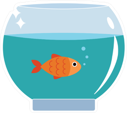 Gold Fish In Bowl Sticker