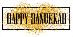 Gold Glitter Happy Hanukkah Sticker