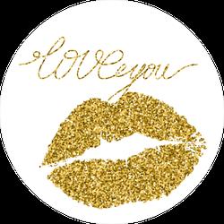 Gold Glitter Lipstick Imprint Of A Kiss Sticker
