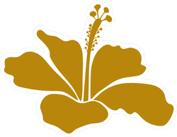Gold Hibiscus Icon Sticker