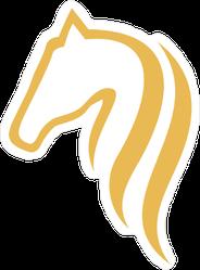 Gold Horse Head Logo Sticker