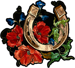 Gold Horseshoe Embroidery Art Sticker