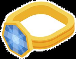 Gold Jewel Ring Icon Jeweler Cartoon Sticker