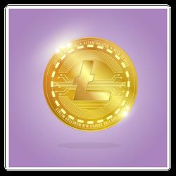 Gold Litecoin Cryptocurrency Sticker