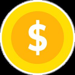 Gold Money Coin Sticker