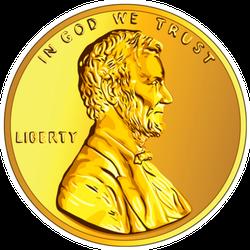 Gold Penny Sticker
