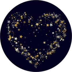Gold Stars Heart Sticker