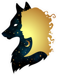 Gold Woman and Space Wolf Silhouettes Sticker