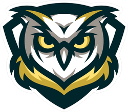 Gold, Yellow And Blue Owl Mascot Sticker