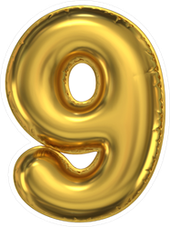 Golden Balloon Number Nine Sticker