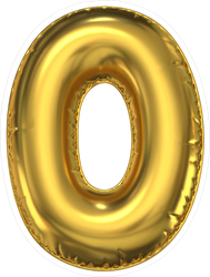 Golden Balloon Number Zero Sticker