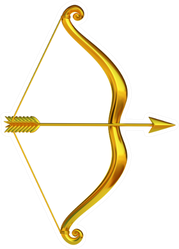 Golden Bow And Arrow Sticker