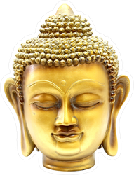 Golden Buddha Head Statue Sticker