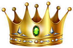 Golden Crown With Green Gemstone And Diamonds Sticker
