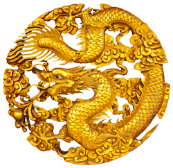 Golden Dragon Statue Sticker