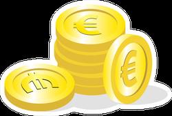 Golden Euro Coins Sticker