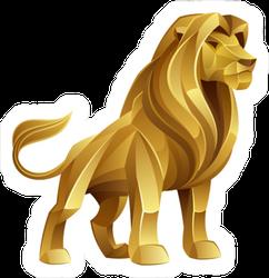Golden Geometric Lion Sticker