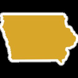 Golden Map Of Iowa Sticker
