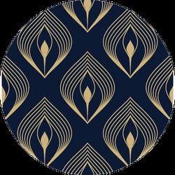 Golden Peacock Feather Pattern On Black Sticker