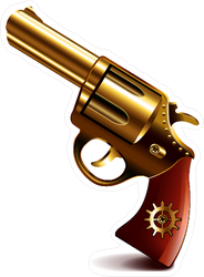 Golden Pistol Revolver Sticker