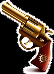 Golden Pistol Revolver Sticker