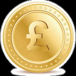 Golden Pound Sterling Coin Sticker