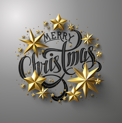 Golden Star Merry Christmas Lettering Sticker