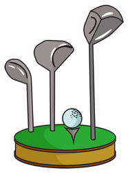 Golf Ball And Clubs On Grass Icon In Cartoon Style Sticker