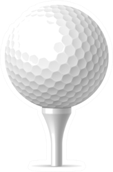 Golf Ball On White Tee Illustration Sticker