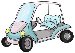 Golf Cart Icon In Cartoon Style Sticker